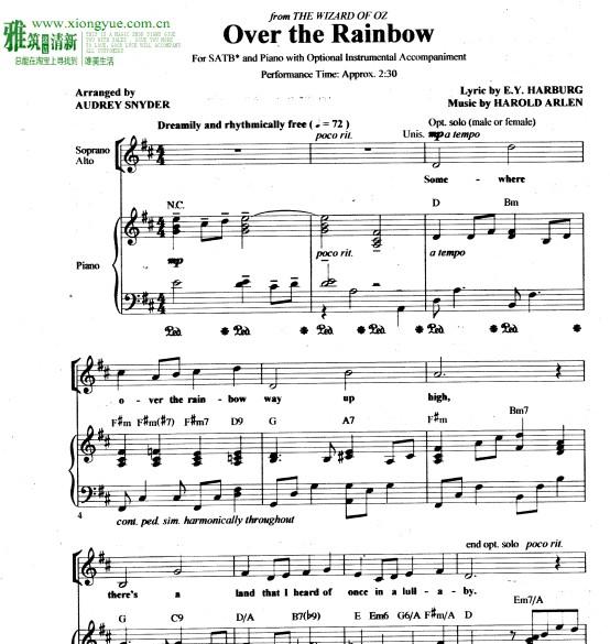 童声合唱 二声部女声合唱 钢琴谱