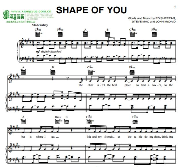Ed Sheeran - Shape Of You钢琴伴奏谱