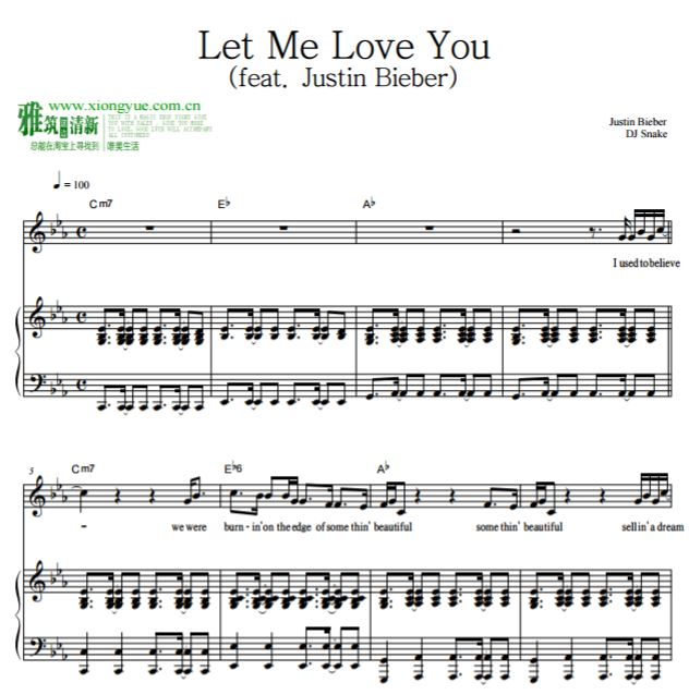 let me love you钢琴谱 (feat. justin bieber)图片