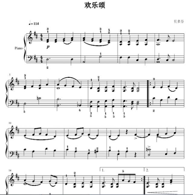贝多芬 欢乐颂钢琴谱 带指法