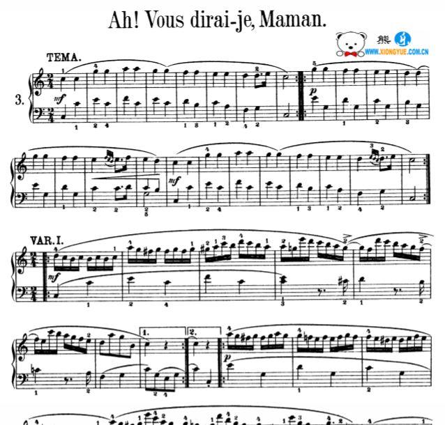 莫扎特 小星星变奏曲钢琴谱 带指法原版乐谱 k.265