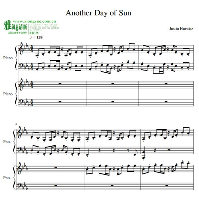 爱乐之城la la land双钢琴谱 Another Day Of Sun双钢琴谱