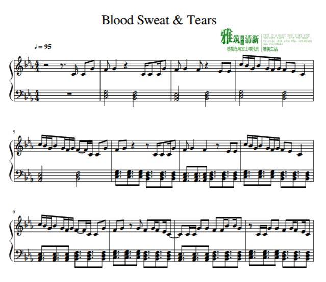 bts 血汗泪简单版钢琴谱 音频