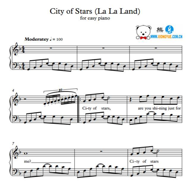 简单版钢琴谱 city of stars钢琴谱