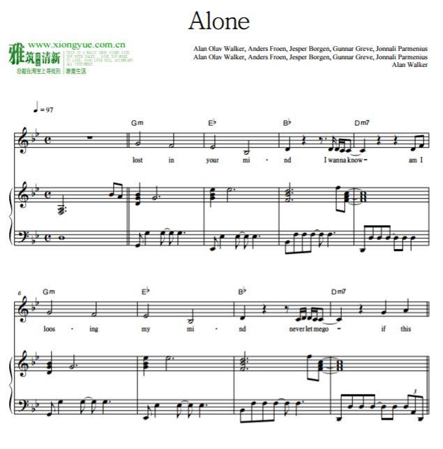 alan walker - alone钢琴伴奏谱 原调