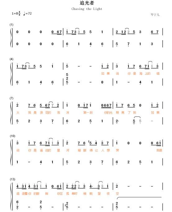 琴譜 Sheet Music 影视流行音乐乐谱 楽譜 五线谱 钢琴谱 PDF格式 共5页 高清晰版 可打印