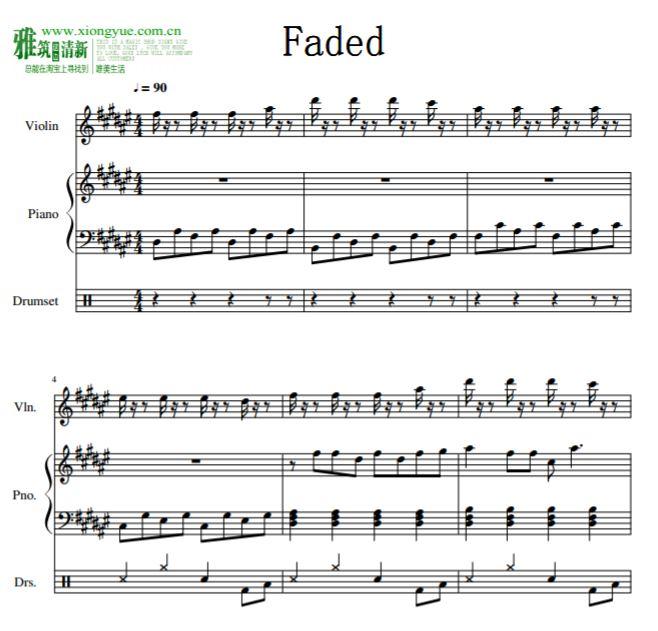 alan walker - faded小提琴钢琴爵士鼓合奏谱