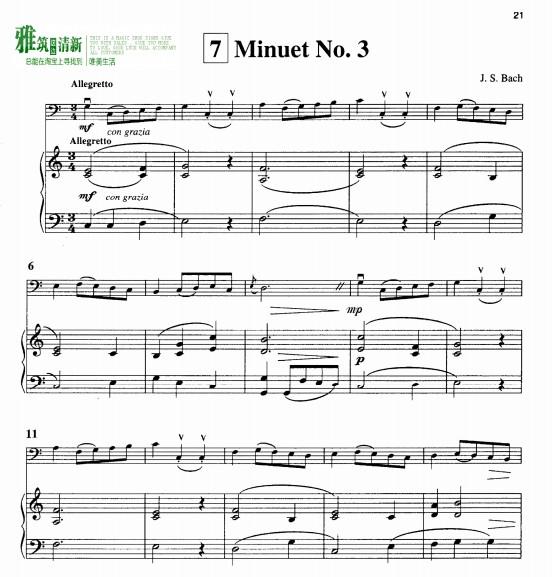 巴赫第三号小步舞曲大提琴独奏钢琴伴奏谱