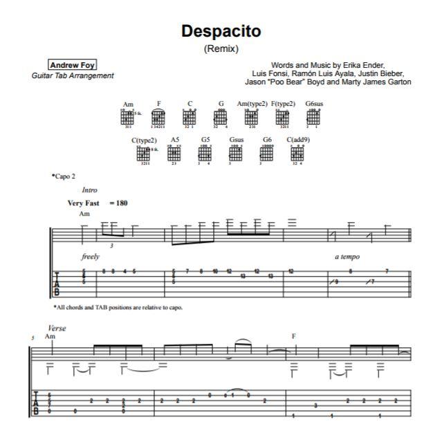 andrew foy版 despacito指弹吉他谱图片