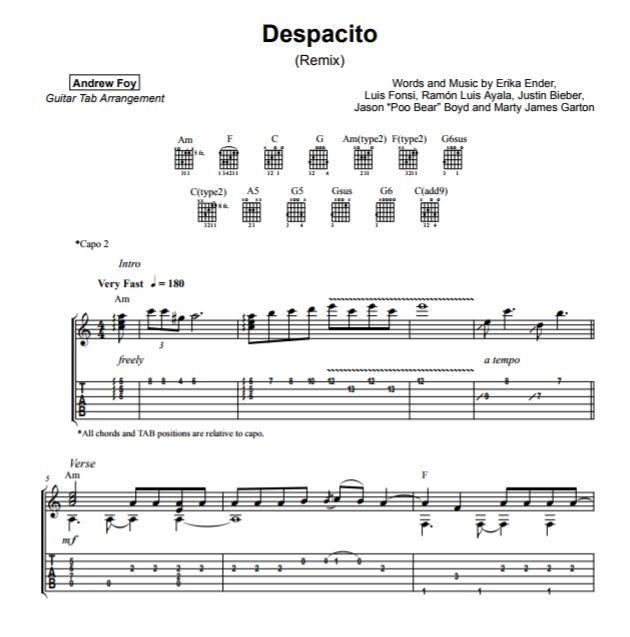 Andrew Foy版 Despacito吉他谱