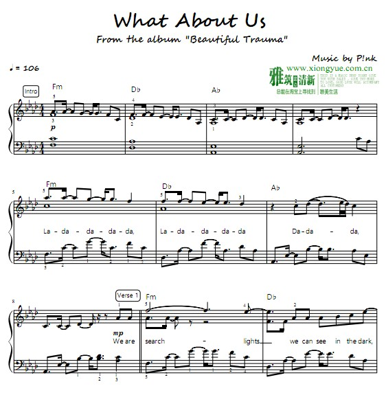 P!nk - What About Us钢琴谱