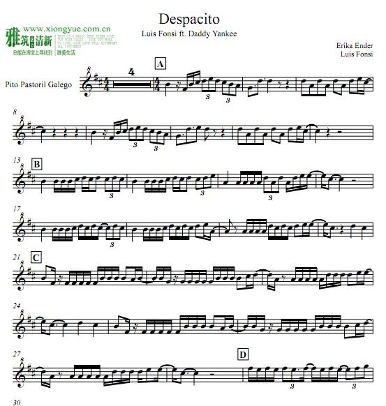 despacito小提琴谱图片