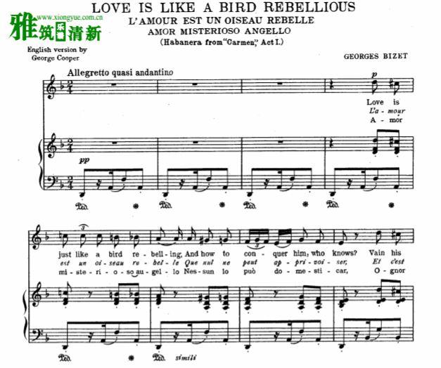 欧美古典音乐哈巴涅拉钢琴谱