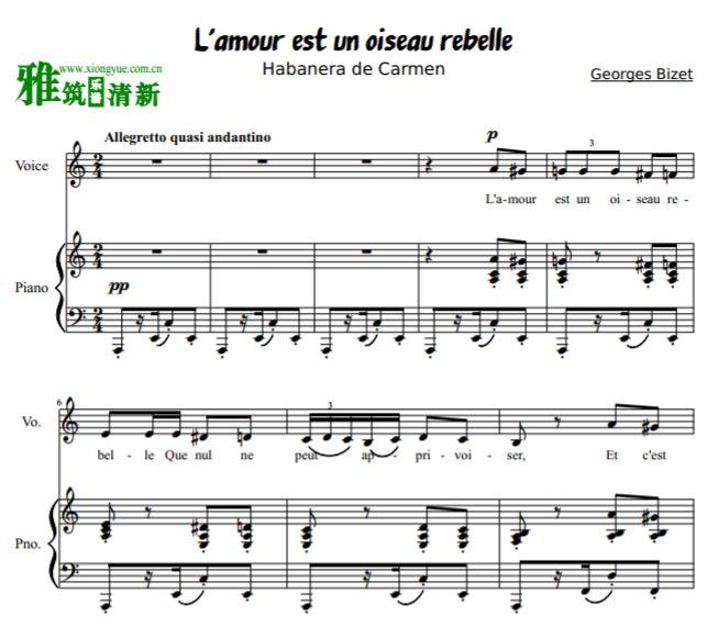 rebelle哈巴涅拉舞曲声乐谱钢琴谱