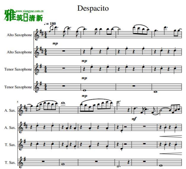 Despacito AATB萨克斯合奏谱