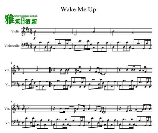 wake me up小提琴大提琴二重奏谱