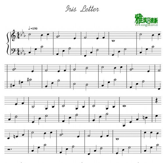 iris - letter钢琴谱