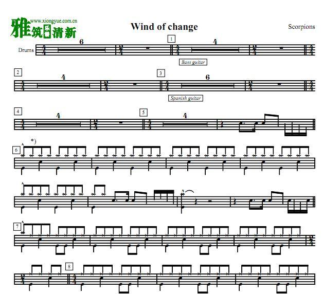 pions蝎子乐队鼓谱 Wind of Change 架子鼓谱