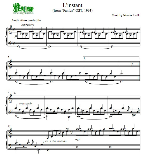 Nicolas Jorelle - L'instant钢琴谱 Fanfan 芳芳