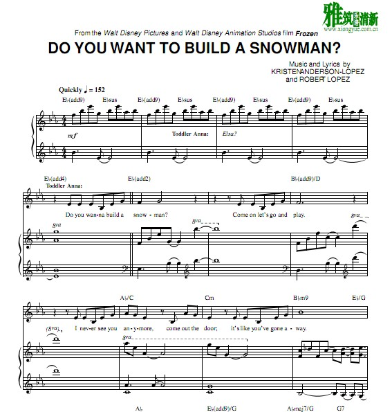 Do You Want to Build a Snowman钢琴伴奏谱 正谱