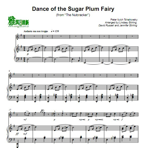 Lindsey Stirling - Dance of the Sugar Plum Fairy钢琴伴奏谱