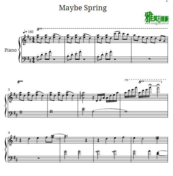 柳善皓 如果春天到来钢琴谱