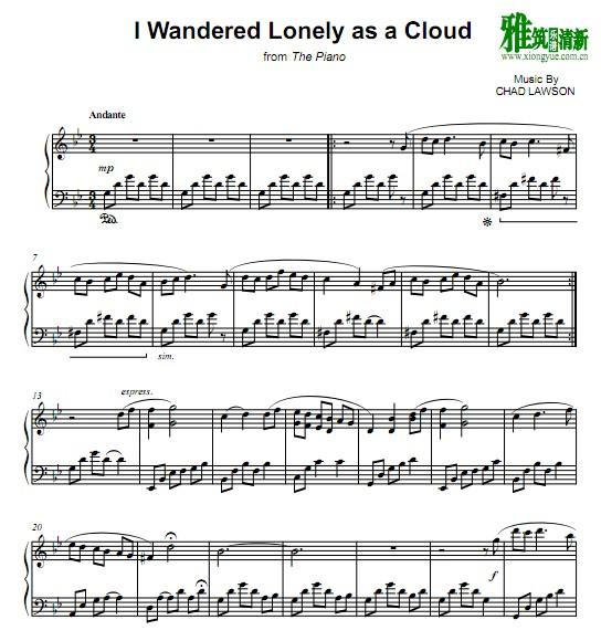 Chad Lawson - I Wandered Lonely As a Cloud钢琴谱