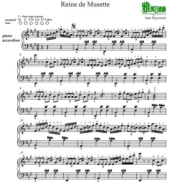 Reine De Musette手风琴谱