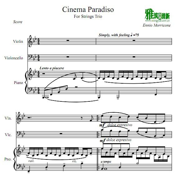 天堂电影院 Cinema Paradiso 小提琴大提琴钢琴三重奏谱