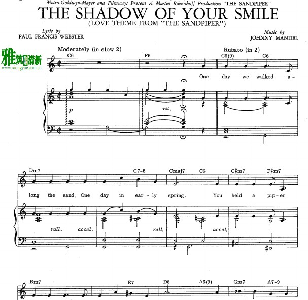 JOHNNY-MANDEL-the shadow of your smile钢琴伴奏谱