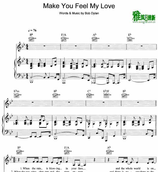 Make You Feel My Love钢琴伴奏谱
