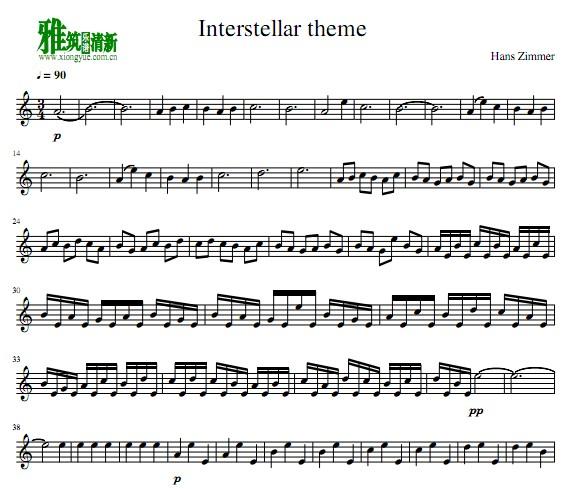 星际穿越主题曲小提琴谱