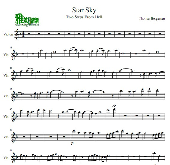 Two Steps From Hell - Star Sky小提琴谱