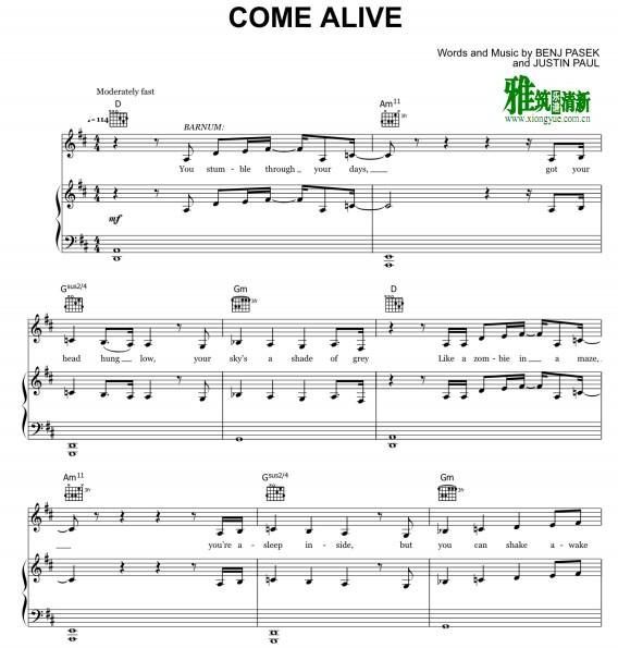 马戏之王 Come Alive钢琴谱