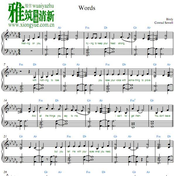 Birdy Words钢琴谱