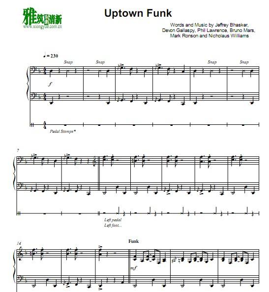 snowdin town 简谱-雅筑清新乐谱 火星哥 Uptown Funk爵士钢琴谱 Z18022101JM