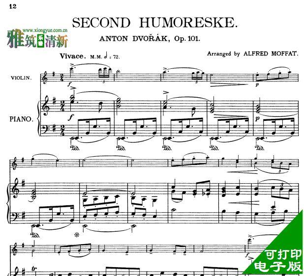 德沃夏克 幽默曲小提琴钢琴二重奏谱 no2