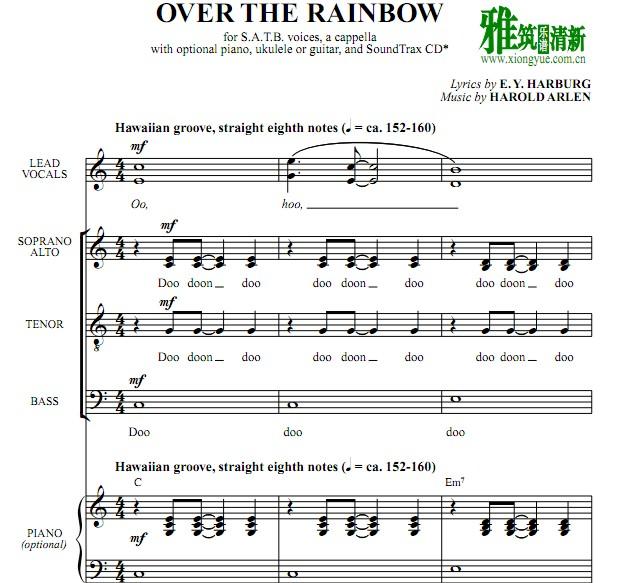 nbow 飞跃彩虹4声部合唱阿卡贝拉谱