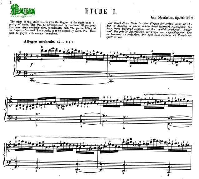莫舍列斯 莫谢莱斯 op70 no.1 带指法钢琴谱