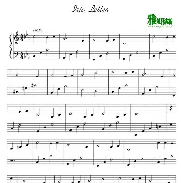 iris letter 钢琴谱图片