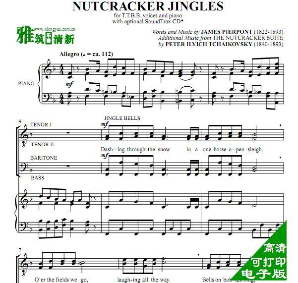 胡桃夹子铃儿响叮当 TTBB男声合唱钢琴伴奏谱图片