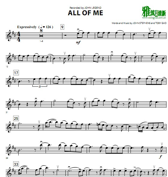 John legend - All of Me小提琴谱