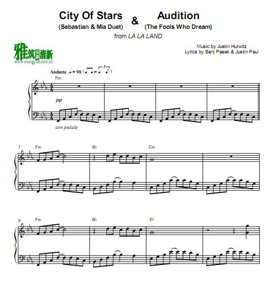 John legend约翰传奇爱乐之城City of Stars & Audition Medley钢琴谱