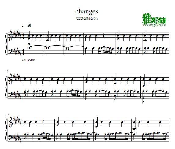 xxxtentacion - changes钢琴谱
