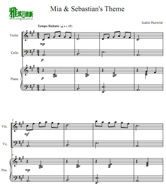 爱乐之城Mia & Sebastian's Theme小提琴大提琴钢琴谱