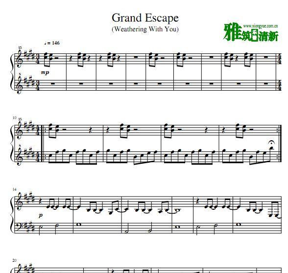 天气之子 Grand Escape钢琴谱 天�荬巫又魈馇�钢琴谱