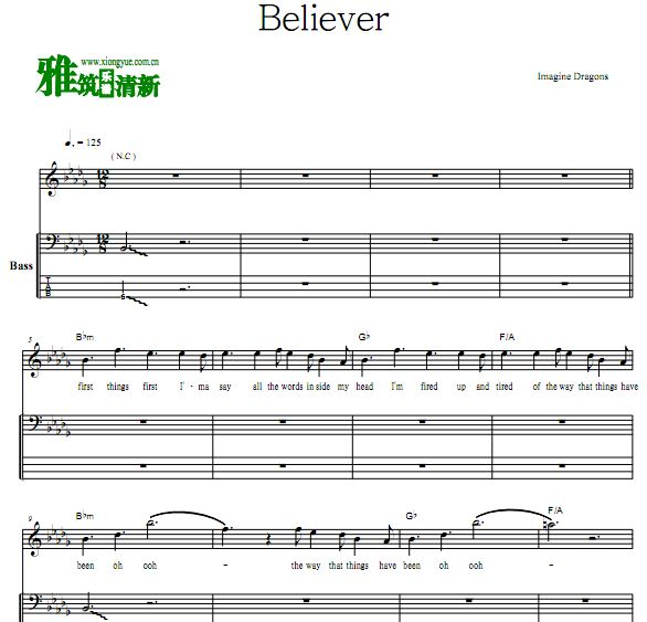 Imagine Dragons梦龙 Believer乐队贝斯谱