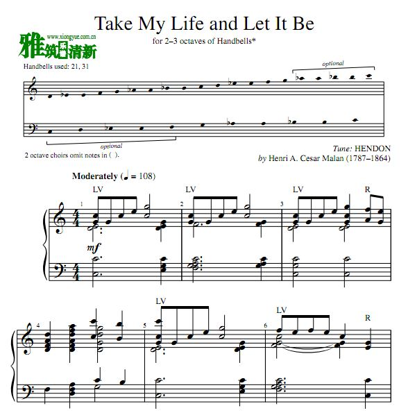 Take My Life and Let It Be手铃谱