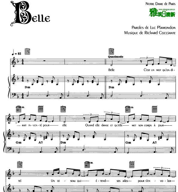 音乐剧巴黎圣母院 Belle 美丽佳人声乐谱 钢琴伴奏谱