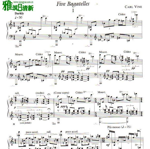 Carl Vine - Carl Vine -5 Bagatelles钢琴谱